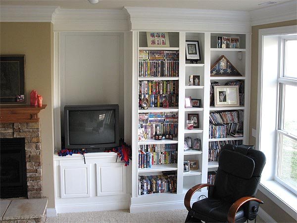 shelving books and tv