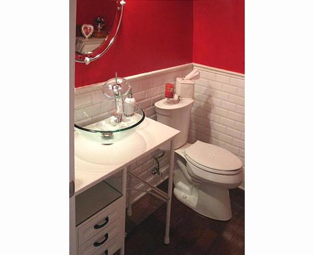 red walled bathroom