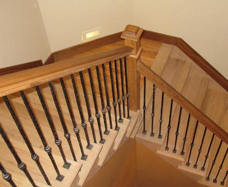 wood downward staircase